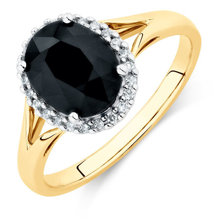 Ring with Sapphire & Diamonds in 10ct Yellow & White Gold
