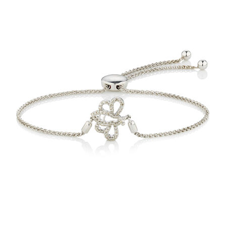 Online Exclusive - Adjustable Bee Bracelet with 0.18 Carat TW of Diamonds in Sterling Silver