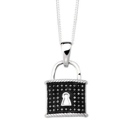 Padlock Pendant with Enhanced Black Diamonds in Sterling Silver