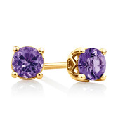 4mm Stud Earrings with Amethyst in 10ct Yellow Gold