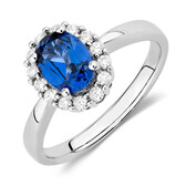 Online Exclusive - Ring with Created Sapphire & 1/4 Carat TW of Diamonds in 10ct White Gold