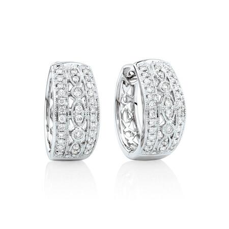 Fancy Huggie Earrings with 0.34 Carat TW of Diamonds in 10ct White Gold