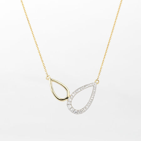Online Exclusive - Teardrop Necklace with Diamonds in 10ct Yellow Gold