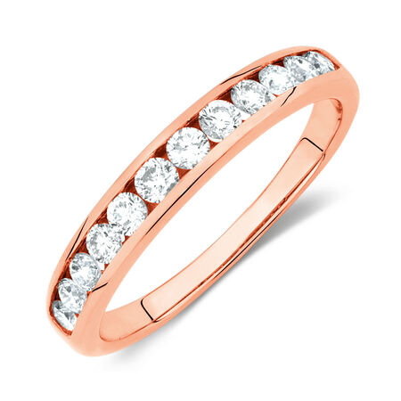Wedding Band with 1/2 Carat TW of Diamonds in 10ct Rose Gold