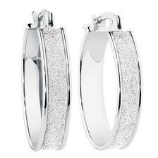 Glitter Hoop Earrings in Sterling Silver