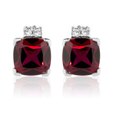 Stud Earrings with Created Ruby & Diamonds in 10ct White Gold