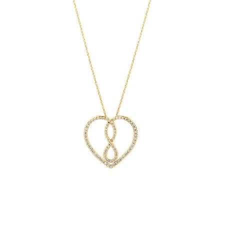 Medium Infinitas Pendant with 0.34 Carat TW of Diamonds in 10ct Yellow Gold