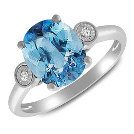 Ring with Blue Topaz & Diamond in 10ct White Gold