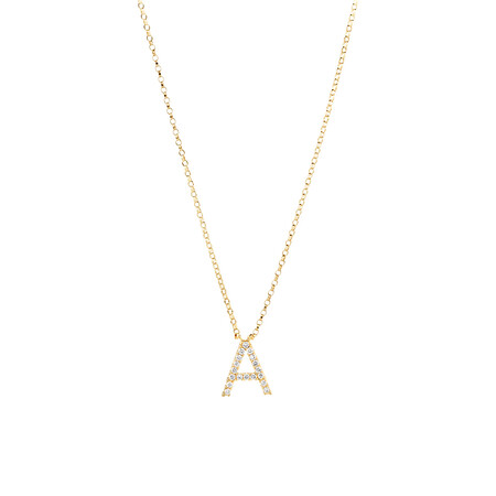 """""""A"""" Initial Necklace with 0.10 Carat TW of Diamonds in 10ct Yellow Gold"""