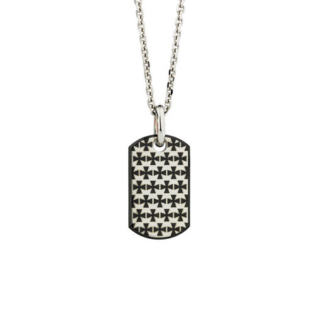 Online Exclusive - Patterned Dog Tag Pendant In Stainless Steel