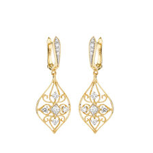 Drop Earrings with Diamonds in 10ct Yellow Gold