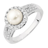 Ring with a Cultured Freshwater Pearl & Created White Sapphires in Sterling Silver