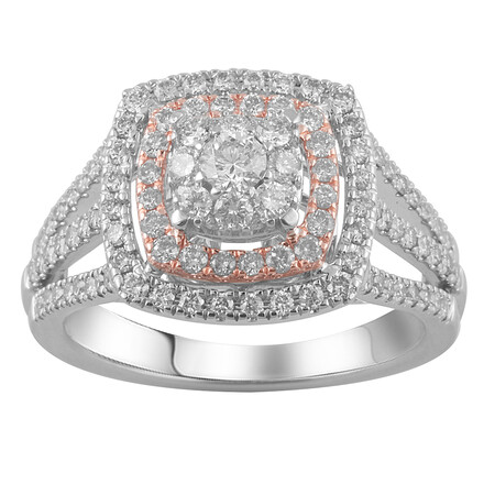 Halo Ring with 1.00 Carat TW of Diamonds in 14ct Rose & White Gold