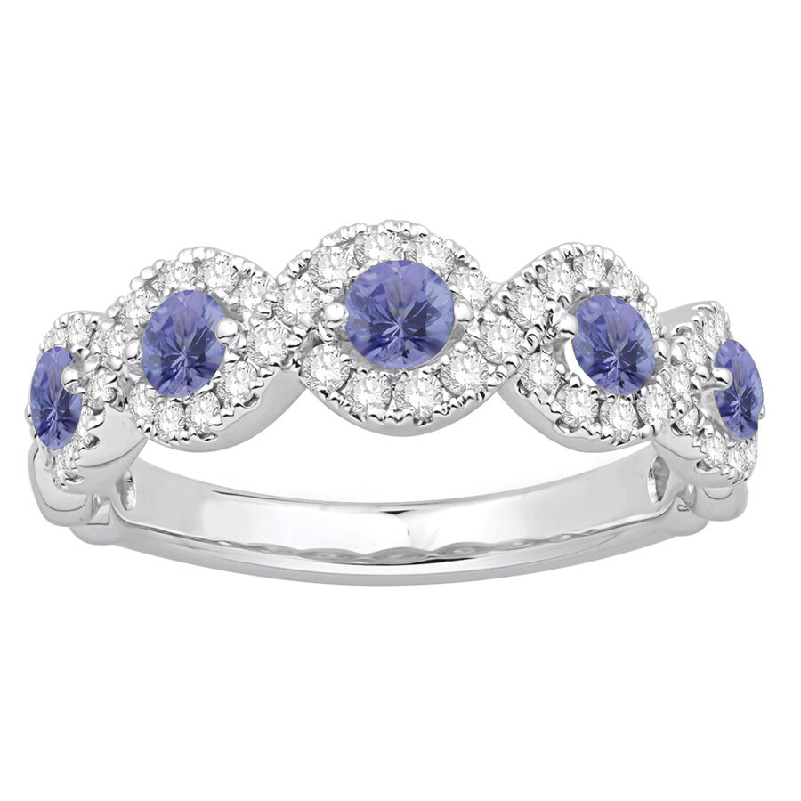 Ring with Tanzanite & 0.46 Carat TW of Diamonds in 14ct White Gold