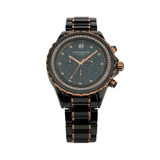 Chronograph Watch with 0.50 Carat TW of Diamonds in Black Ceramic & Rose Tone Stainless Steel