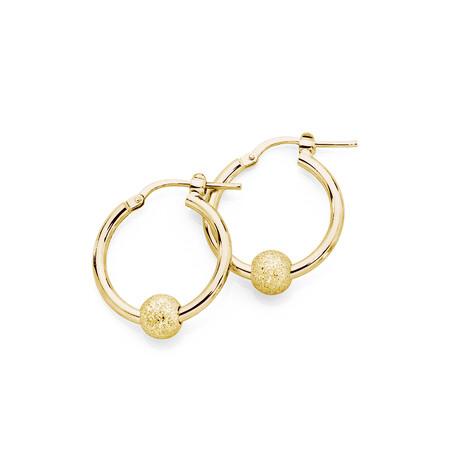 Stardust Ball Hoop Earrings in 10ct Yellow Gold