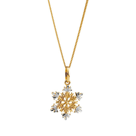 Snowflake Pendant in 10ct Yellow & White Gold