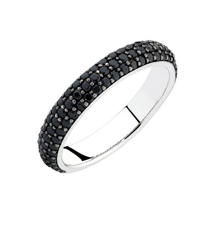Stacker Ring with Black Cubic Zirconia in Sterling Silver