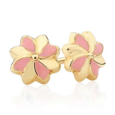 Flower Stud Earrings with Pink Enamel in 10ct Yellow Gold