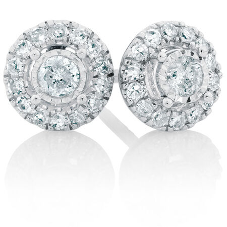 Stud Earrings with a 1/2 Carat TW of Diamonds in 10ct White Gold