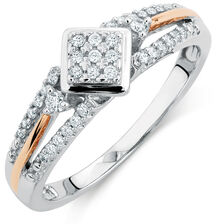 Promise Ring with 0.20 Carat TW of Diamonds in 10ct White & Rose Gold