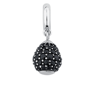 Black Cubic Zirconia & Sterling Silver Wild Hearts Dangle Charm