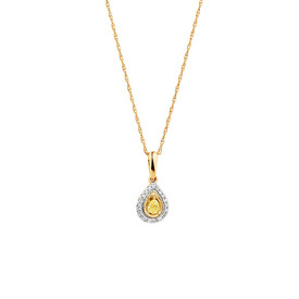 Pendant with 1/5 Carat TW of Natural Yellow & White Diamonds in 10ct Yellow Gold