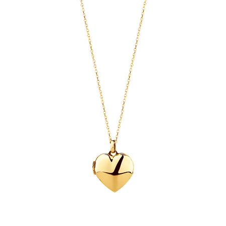 Heart Locket Pendant in 10ct Yellow Gold
