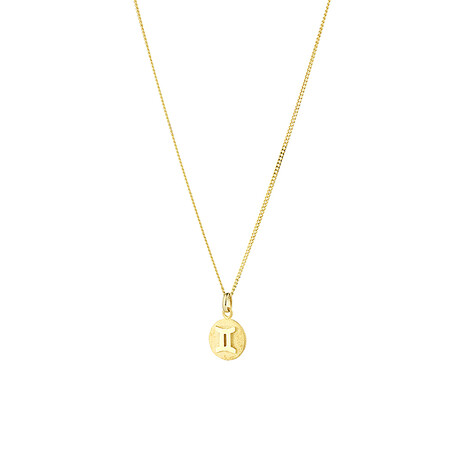 Gemini Zodiac Pendant in 10ct Yellow Gold