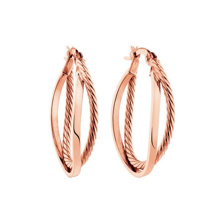 Double Hoop Earrings in 10ct Rose Gold