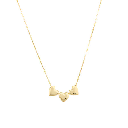 Heart Slider Necklace in 10ct Yellow Gold