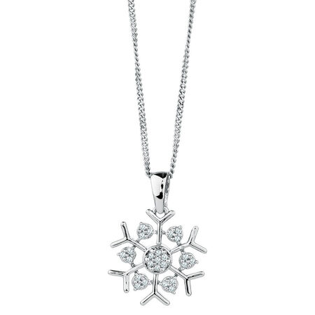 Snow Flake Pendant with Diamonds in Sterling Silver