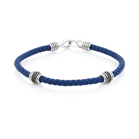 Blue Leather Bracelet with Cubic Zirconia in Sterling Silver