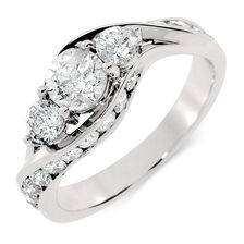 Online Exclusive - Engagement Ring with 1 1/2 Carat TW of Diamonds in 14ct White Gold