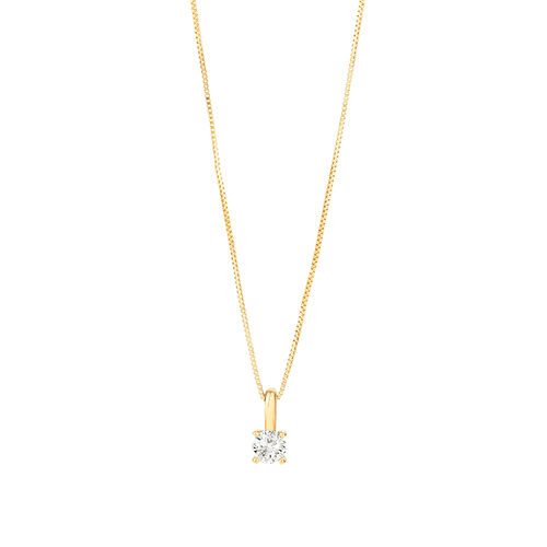 Solitaire Pendant with 0.25 Carat TW of Diamond in 10ct Yellow Gold