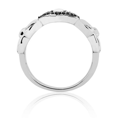Infinitas Ring with Enhanced Black Diamonds in Sterling Silver