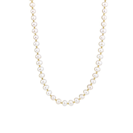 "42cm (16"") Necklace with Cultured Freshwater Pearls in 10ct Yellow Gold"