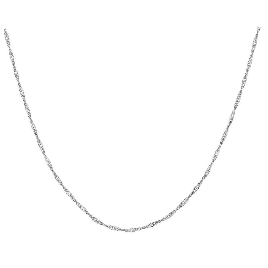 """60cm (24"""") Hollow Singapore Chain in 10ct White Gold"""