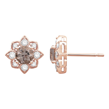 Stud Earrings with Morganite & 0.34 Carat TW of Diamonds in 10ct Rose Gold