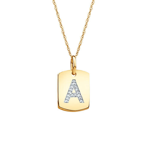 """A"" Initial Rectangular Pendant With Diamonds In 10ct Yellow Gold"
