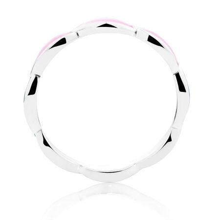 Sterling Silver & Pale Pink Enamel Stack Ring