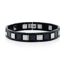 Men S Bracelet In Carbon Fibre Tungsten Stainless Steel