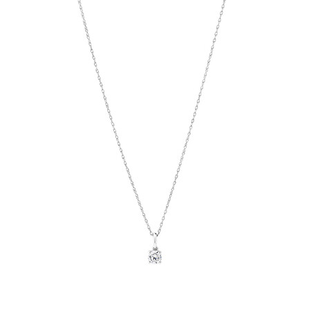 Laboratory-Created 0.25 Carat Solitaire Pendant In 10ct White Gold