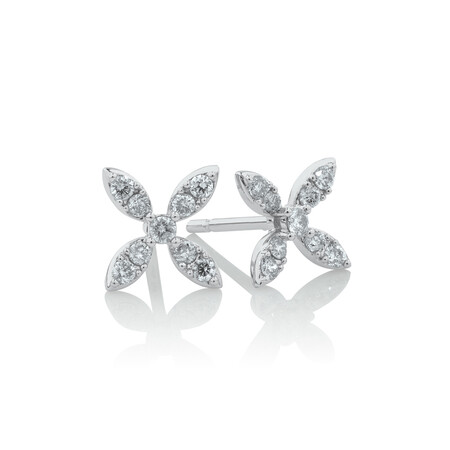 Flower Stud Earrings with 0.25 Carat TW of Diamonds in 10ct White Gold