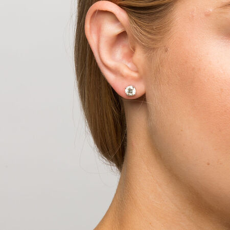 Stud Earrings with 1 1/2 Carat TW of Diamonds in 18ct White Gold