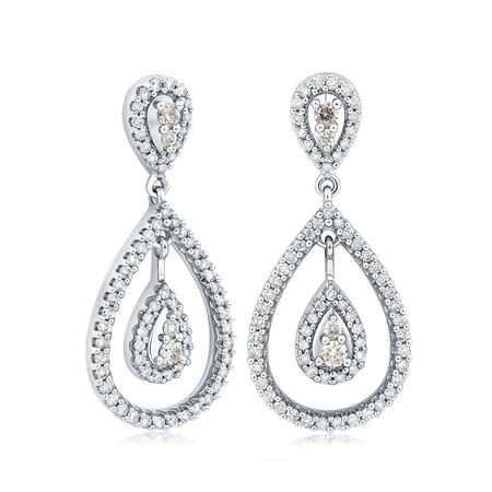 Drop Earrings with 1 Carat TW of Diamonds in 14ct White Gold