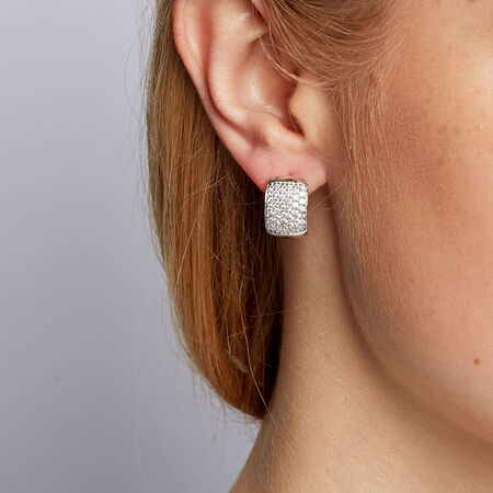 Hoop Earrings with Cubic Zirconias in Sterling Silver