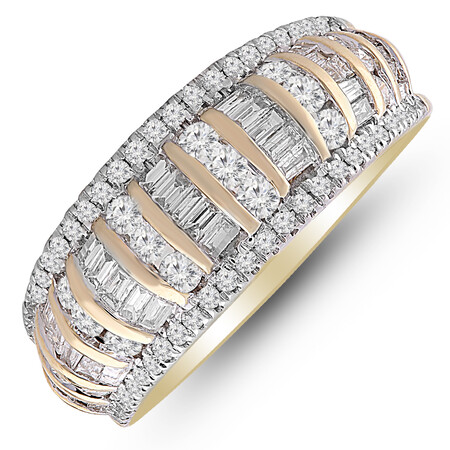 Ring with 1.00 Carat TW of Diamonds in 10ct Yellow Gold