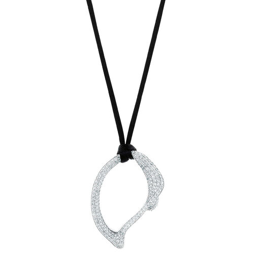 Spirits Bay Hollow Pendant with 1 1/2 Carat TW of Diamonds in 14ct White Gold