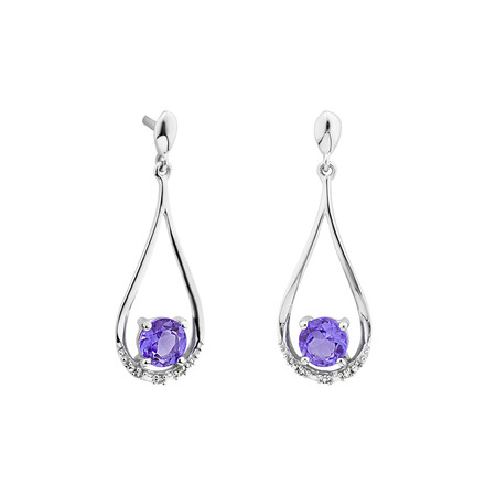 Drop Stud Earrings with Amethyst & Diamonds in 10ct White Gold